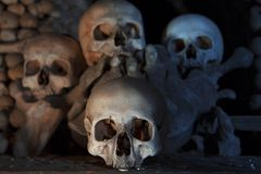 Skulls in Kostnice church. In the Czech town of Kutna Hora royalty free stock images