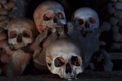 Skulls in Kostnice church. In the Czech town of Kutna Hora stock photos