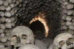 Skulls in Kutna Hora bone Church stock image
