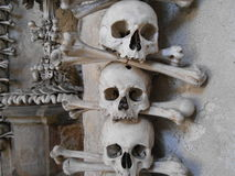 Skulls at Kutna Hura. Skulls at the skull church Stock Photography