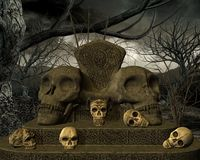 Skulls. Lost land with skulls and dry trees Stock Photo