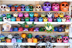 Skulls of many colors. These colorful skulls were found at the open air market  at Cozumel Mexico Stock Images