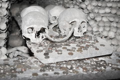 Skulls and money in Kutna Hora Stock Image