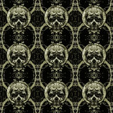 Skulls Motif Dark Seamless Pattern Stock Image