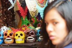 SKULLS, TEPOZTLAN`S CARNIVAL, MEXICO. Skulls and necklaces crafts in the Tepoztlan`s carnival. Morelos. Mexico royalty free stock photography