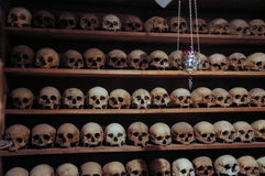 Skulls. Of old monks who lived in the monastery. The Holy Monastery of Great Meteoron, Meteora, Thessaly,Greece Stock Photo