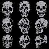Skulls Old school style Set 01. Skulls line work with the background color vector for use royalty free illustration