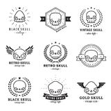 Skulls outline black logo vector set. Part two. Skulls outline black logo vector set. Vintage design. Part two Royalty Free Stock Photo