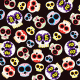 Skulls pattern. With colorful details Stock Photos