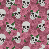 Skulls and pink roses. Skulls and roses pattern. Vector seamless background Stock Photos