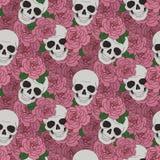 Skulls and pink roses vector illustration