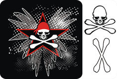 Skulls_pirate. T-shirt or poster design illustration with skulls, star, bones and wings Stock Photography