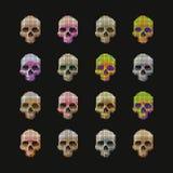 Skulls pixel multicolored. Stock Photo