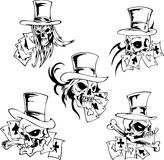 Skulls with playing cards. Set of vector illustrations Royalty Free Stock Photos