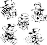 Skulls with playing cards. Set of vector illustrations Royalty Free Stock Photo