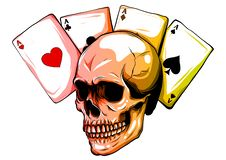 Skulls with playing cards. Set of vector illustrations. royalty free illustration