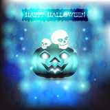 Skulls and pumpkin in blue background Stock Photo