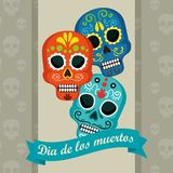 Skulls with ribbon to day of the dead event. Vector illustration stock illustration