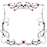 Skulls and roses. Skulls with rose and thorn bramble border design Stock Images