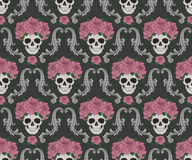Skulls and roses damask pattern Royalty Free Stock Photo