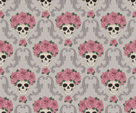 Skulls and roses damask pattern Royalty Free Stock Image