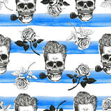 Skulls and roses seamless paper stock photos