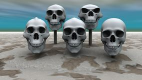Skulls in a row. 3d render of skulls mounted on sticks in a row Stock Photos