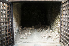 Skulls at the ruins of Herculaneum, Naples, Italy Stock Images