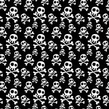 Skulls Seamless Background. Skulls with crossed bones pattern. Black and white silhouette Royalty Free Stock Photography
