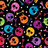Skulls seamless pattern. Multicolor seamless pattern with skulls and hearts. EPS 10 vector illustration. Contains transparency effects stock illustration