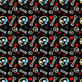 Skulls seamless pattern with black background Stock Photos