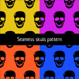 Skulls seamless pattern, 4 color set. Royalty Free Stock Photos