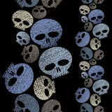 Skulls seamless pattern, horror and hard rock theme repeating ba Stock Photo