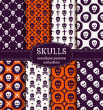Skulls seamless patterns. Vector set. Royalty Free Stock Images