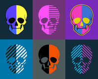 Skulls set. 6 images on different backgrounds. each image are gr Stock Photos