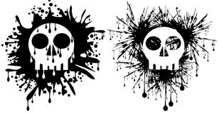 Set of Skulls in black spots isolated. Illustration representing a skulls in spot, in two version Stock Image