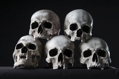 Skulls stacked Stock Photo