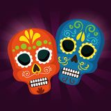 Skulls tradition to day of the dead event. Vector illustration vector illustration