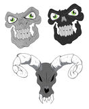Skulls Vector Designs. Scary and Horrible Halloween Ghost Skull Face Expressions Vector Royalty Free Stock Photography