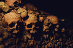 Skulls. Wall of skulls in the French catacombs Stock Photo