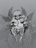 Skulls and wings. Illustration of 5 skulls and wings Stock Image
