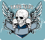 Skulls and wings. T-shirt or poster design illustration with skull, tribals, number and wings Royalty Free Stock Images