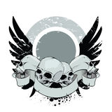 Skulls with wings. Ribbon and place for your text Royalty Free Stock Image
