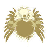 Skulls with wings. Ribbon and place for your text Royalty Free Stock Photos
