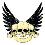 Skulls with wings. Ribbon and place for your text Royalty Free Stock Photography