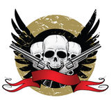 Skulls with wings. And pistols Stock Photography