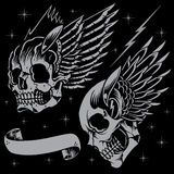 Skulls and wings. In old school tattoo style. Line work with the background color vector for use Royalty Free Stock Photography