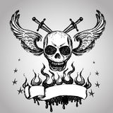 Skulls Wings Tattoo, hand drawing. Vector Royalty Free Stock Images