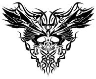 Skulls & Wings Tribal Illustration. Detailed symmetrical illustration of two skulls facing each other adorned by wings and tribal art Royalty Free Stock Photo
