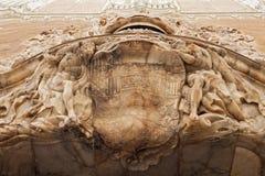 Skulptera på den främre porten av Palacio del Marques de Dos Aguas Valencia, Spanien fotografering för bildbyråer